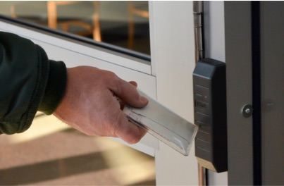 Employee using keyless entry into a commercial building