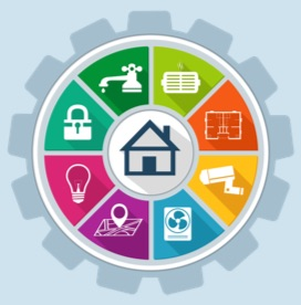 Graphic of a colorful gear showing various icons of home efficiency