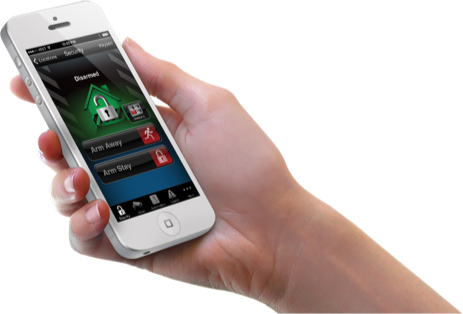 Hand holding smartphone with app that controls remote access to the home