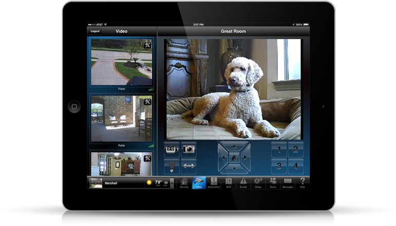 iPad displaying video feeds from around a residential home