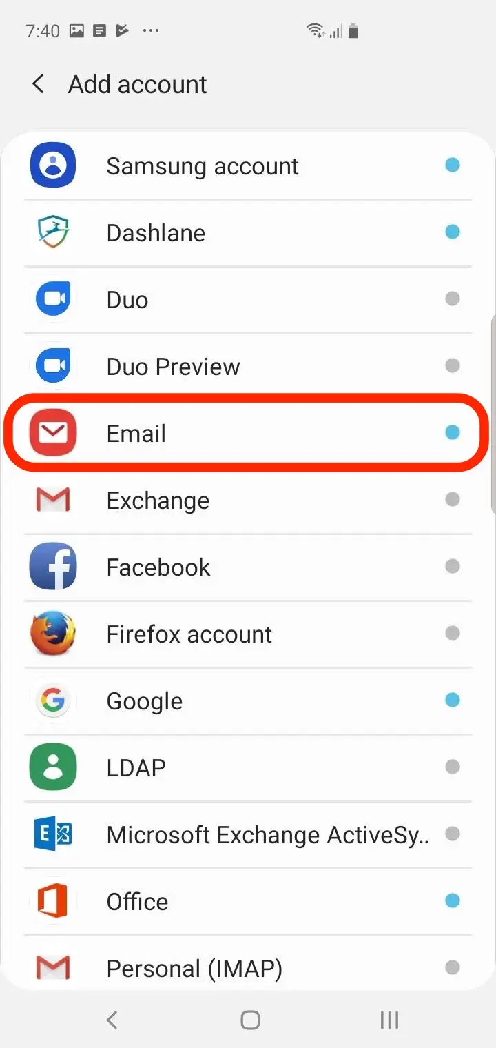 Add an email accounts in settings