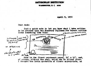 Dr. Henderson's sketch of AOS membership certificate, 9 April, 1970.