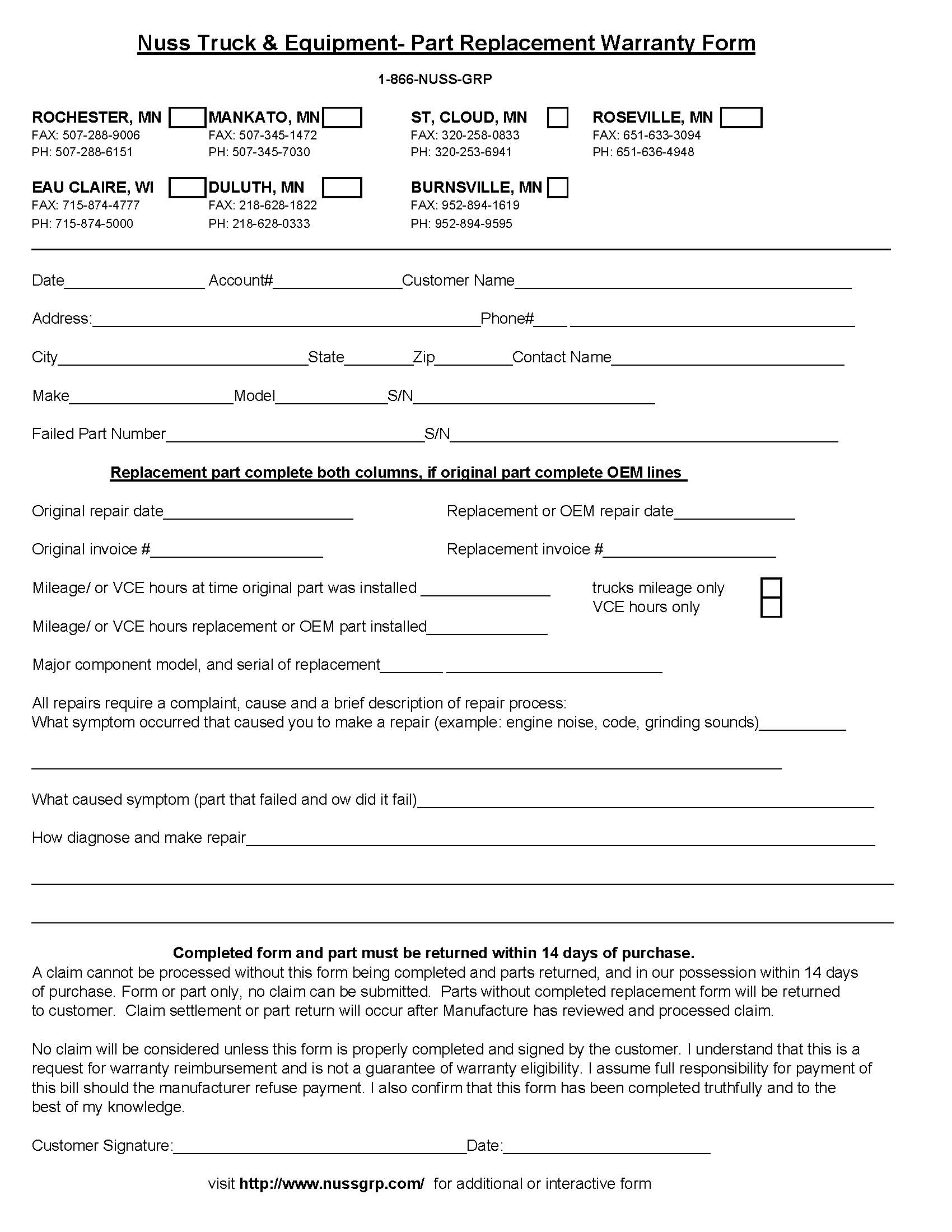 Parts Replacement Warranty Form