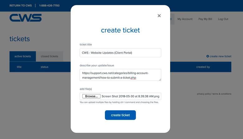 Fill in ticket information