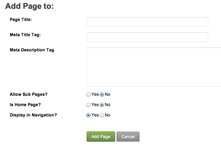 Add Page Form